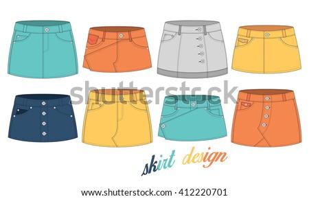 set of skirt cutting design - stock vector