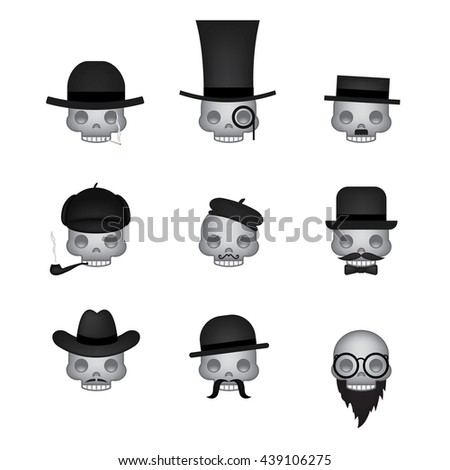 Set of skull emoticon vector isolated on white background. Emoji vector. Smile icon set. Emoticon icon web. - stock vector
