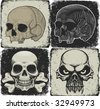 set of skulls - stock vector