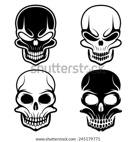 set of skulls vector design template - stock vector