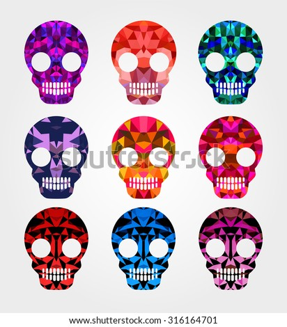 Set of skulls with different backgrounds and different shades and colors for design and inspiration. Skull Halloween - stock vector