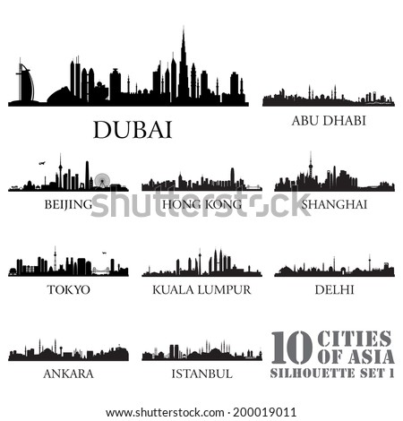 Set of skyline cities silhouettes. 10 cities of Asia #1. Vector illustration. - stock vector
