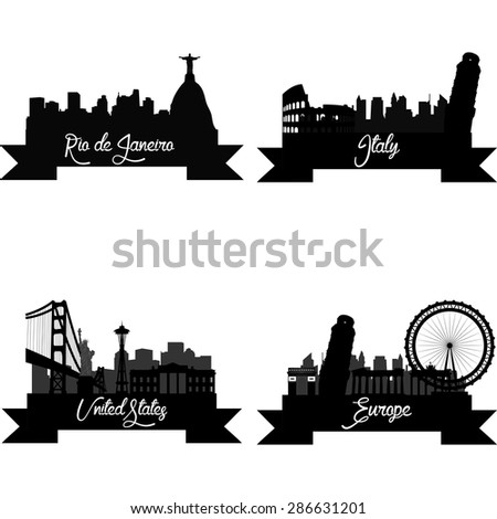 Set of skylines with monuments on a white background. Vector illustration - stock vector