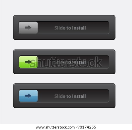 Set of slide lock buttons (log-in , security connection, status) - stock vector