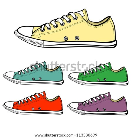 Set of slim sneakers drawn in a sketch style. Side view of sneakers in different colors. Vector illustration.