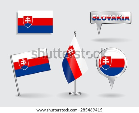 Set of Slovakian pin, icon and map pointer flags. Vector illustration. - stock vector