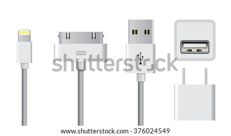 set of smartphone usb charger cable and plugs vector illustrations - stock vector