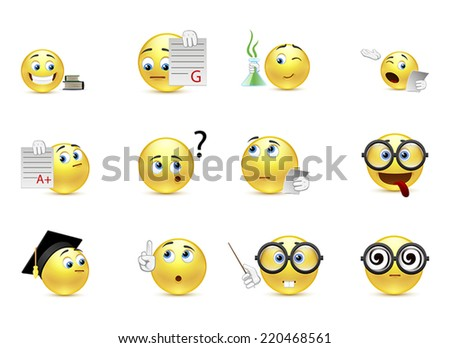 Set of smiles student life - stock vector