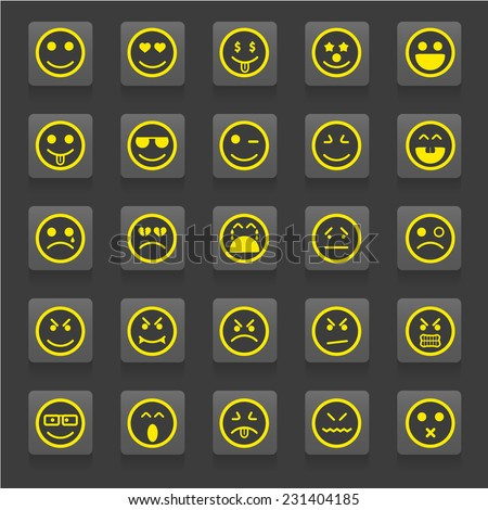Set of smiley faces.men characters - stock vector