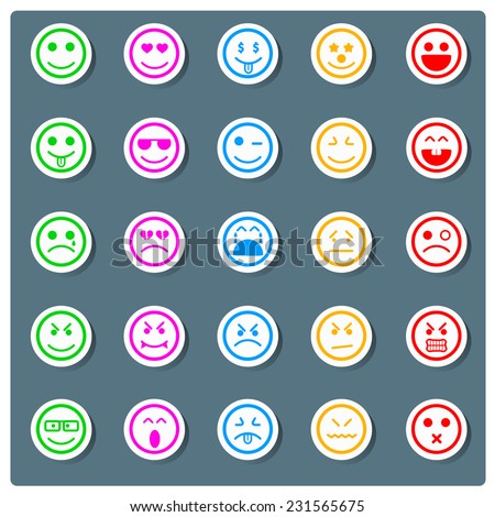 Set of smiley faces sticker icons. men characters - stock vector
