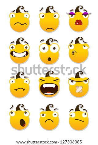 set of smileys. Angry and sad smileys. Vector illustration isolated on a white background - stock vector