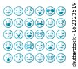 Set of smileys in different emotions and moods - stock vector