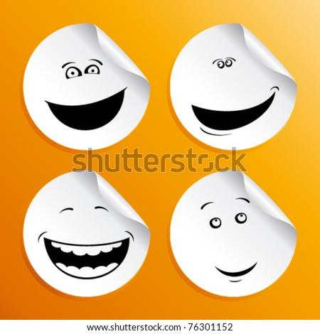 Set of smileys stickers. - stock vector