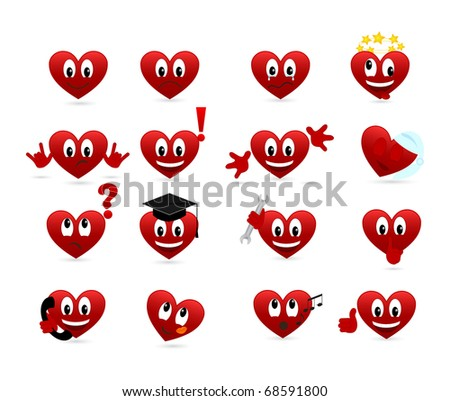 Set of smilies of heart shape with many emotions. Vector illustration.