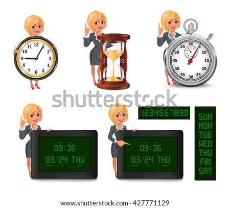 Set of smiling cartoon businesswoman points to the deadline. Blond girl in suit with clock, hourglass, stopwatch, digital clock and calendar. Vector illustration isolated on white background. - stock vector