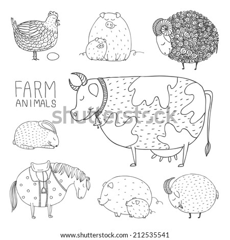 set of smiling hand drawn abstract farm animals - stock vector