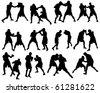Set of Smooth Different Boxing Sport Pose Men People  Silhouettes. Attack, Defend, Jogging, Evasion, Dodge. High Detail Vector Illustration.  - stock vector