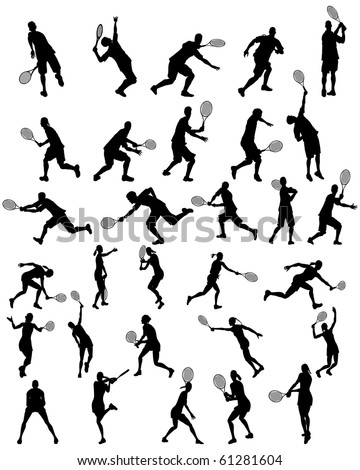 Set of Smooth Different Tennis Pose Girls and Men People  Silhouettes. Serve, Accept, Beat, Forehand, Backhand, Both hand, in Jump. High Detail Vector Illustration.