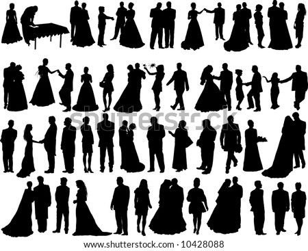 Set of  Smooth Wedding People  Silhouettes. Bride, Groom, Shaffer, Honeymoon,  Dancing, Standing, Going, Posing.  High Detail Vector Illustration.  - stock vector