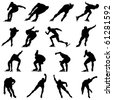 Set of Smooth Winter Sport  Ice Skating People  Silhouettes in Different Poses. Attacking, Running, Starting, Gliding. High Detail Vector Illustration.  - stock vector