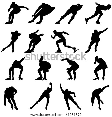 Set of Smooth Winter Sport  Ice Skating People  Silhouettes in Different Poses. Attacking, Running, Starting, Gliding. High Detail Vector Illustration.