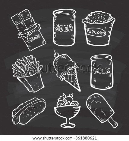 Set of snack doodle on chalkboard background - stock vector