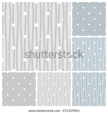 Set of snow background.Winter image. Seamless pattern.Vector. - stock vector