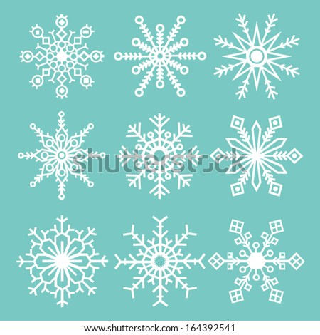 Set of 9 Snowflakes - stock vector