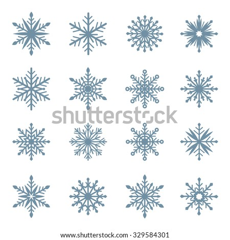 Set of snowflakes. Blue vector snowflakes on a white background - stock vector