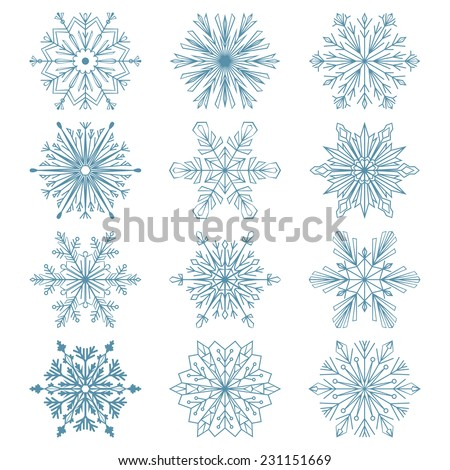 Set of snowflakes. Blue vector snowflakes on a white background. Beautiful winter ornament. Snowflake icons  - stock vector