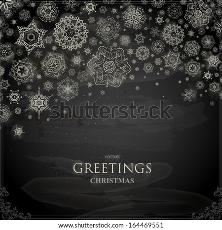 Set of Snowflakes, Chalkboard texture. Chalk Design. - stock vector