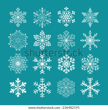 set of snowflakes for background, vector version - stock vector