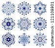 set of snowflakes. global colors used. elements grouped. layered vector for easy manipulation - stock photo