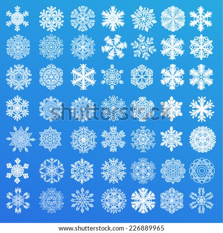 Set of 49 snowflakes on a blue background - stock vector