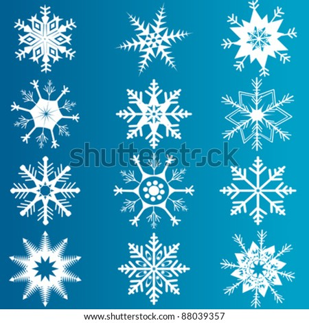 set of snowflakes over blue background - stock vector