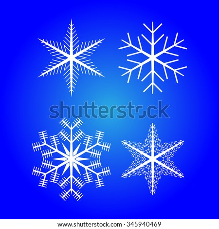 set of snowflakes,  snow, new year, winter holidays, on a blue background, seasons, fully editable vector image