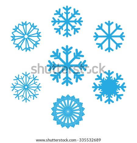 Set of snowflakes vector icons. Background for winter and christmas theme. Set snowflakes flat different shaped. Snowflake symbol, badge blue color on isolated background - stock vector