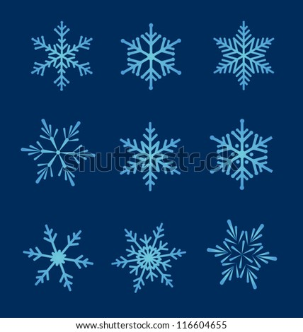 Set of snowflakes. Vector snowflakes set for Christmas design. - stock vector