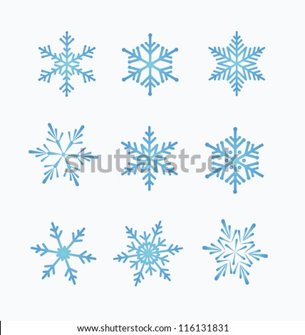 Set of snowflakes, white background - stock vector