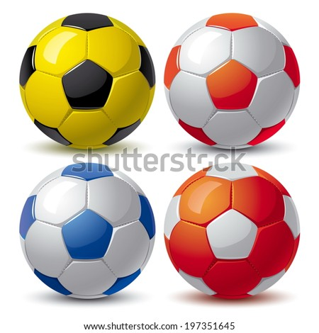 set of soccer balls in white blue red yellow black colors - stock vector