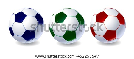 Set of soccer balls of different colors - stock vector