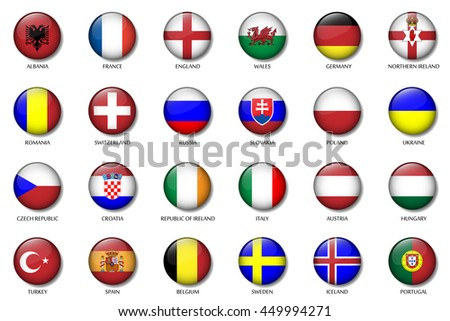 Set of soccer buttons of European teams with National Flag