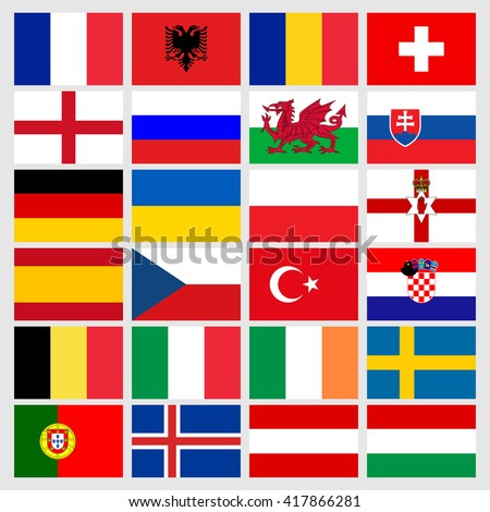 Set of 24 soccer Euro 2016 icons flags of the participant countries. Euro 2016 flags set. Football Euro cup 2016 flags. Vector illustration Euro 2016 flags - stock vector
