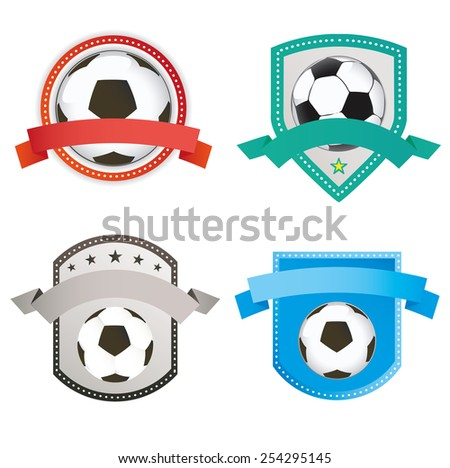 Set of soccer football and logo emblem designs  - stock vector