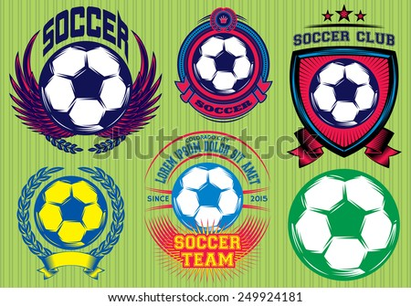 Set of Soccer Football Badge and Logo Design Templates - stock vector