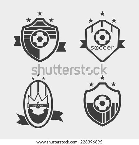Set of soccer football crests and logo emblem designs - stock vector