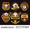 Set of Soccer Football Crests and Logo Emblem Designs. Football Championship Winner Gold Emblem