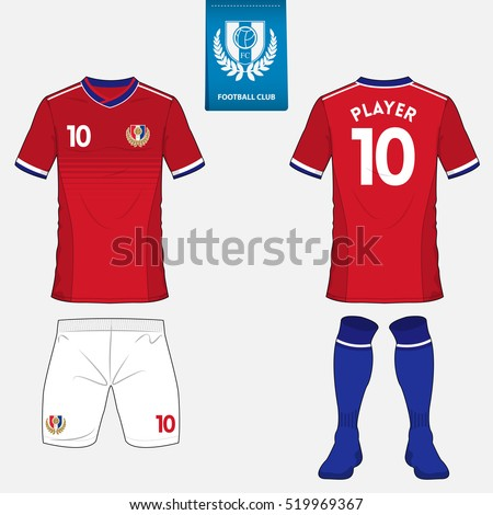set soccer kit football jersey template stock vector 519969367