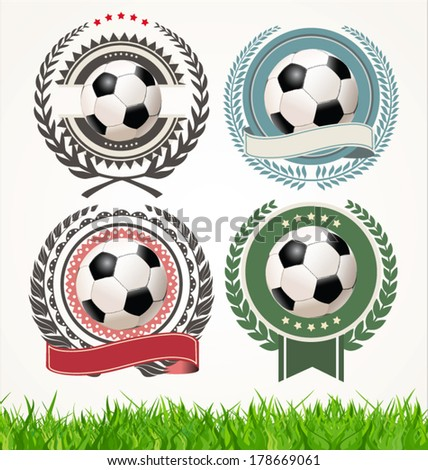 Set of soccer labels with laurel wreaths