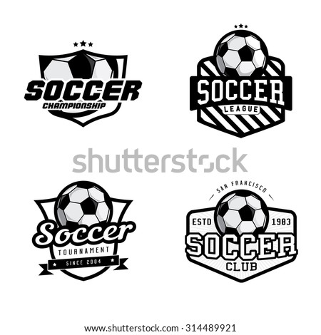 Set of soccer league / championship / tournament / club badges, labels, icons and design elements. Soccer themed t-shirt graphics